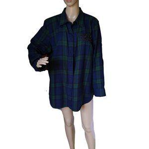 Ralph Lauren plaid shirt 2X, beaded embellishment